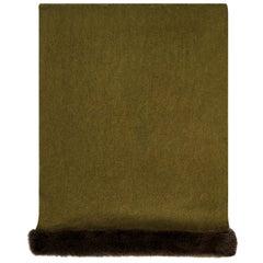 Verheyen London Mink Fur Trimmed Cashmere Shawl Scarf in Olive - Brand New