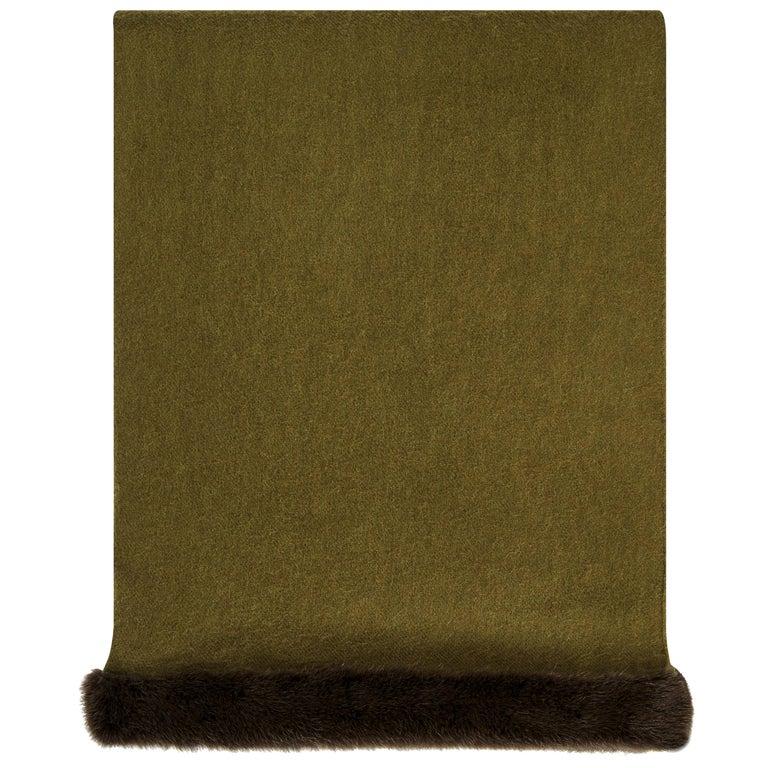 Verheyen London Mink Fur Trimmed Cashmere Shawl Scarf in Olive  For Sale