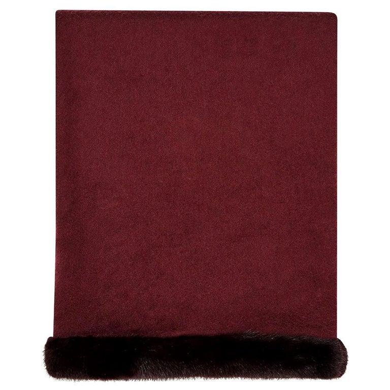 Verheyen London Mink Fur Trimmed Cashmere Shawl Scarf in Rich Burgundy - Brand For Sale