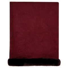 Verheyen London Mink Fur Trimmed Cashmere Shawl Scarf in Rich Burgundy