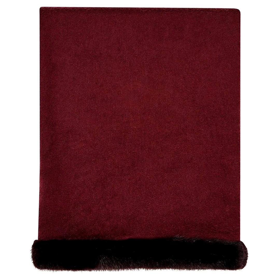Verheyen London Mink Fur Trimmed Cashmere Shawl Scarf in Rich Burgundy