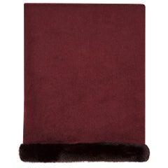 Verheyen London Mink Fur Trimmed Cashmere Shawl Scarf in Rich Burgundy Gift