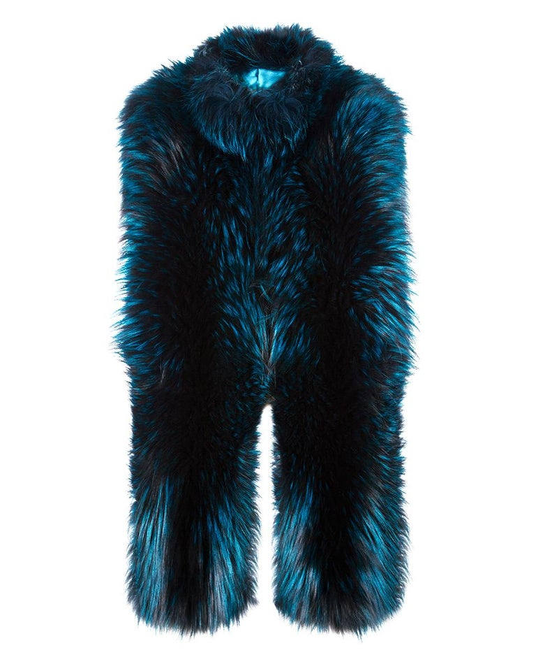 """Verheyen London Nehru Collar Stole in Electric Teal Fox Fur - Brand New   The perfect Christmas gift which can be personally monogrammed on request with hand embroidery.  The Nehru Collar Stole is Verheyen London's wardrobe """"must have"""" for"""