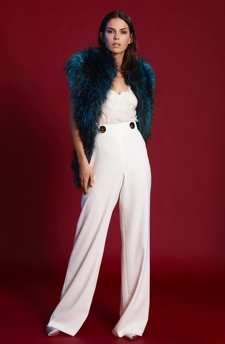Black Verheyen London Nehru Collar Stole in Electric Teal Fox Fur - Brand New