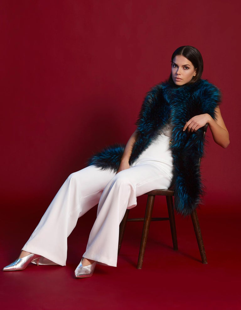 Verheyen London Nehru Collar Stole in Electric Teal Fox Fur - Brand New  In New Condition In London, GB