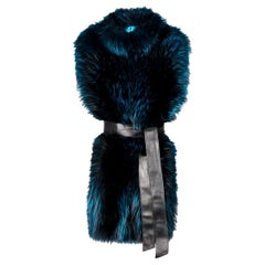 Verheyen London Nehru Collar Stole in Electric Teal Fox Fur - Brand New