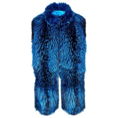 Verheyen London Nehru Collar Stole in Lapis Blue Fox Fur & Silk Lining
