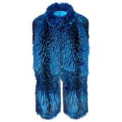 Verheyen London Nehru Collar Stole  in Lapis Blue Fox Fur - Brand New