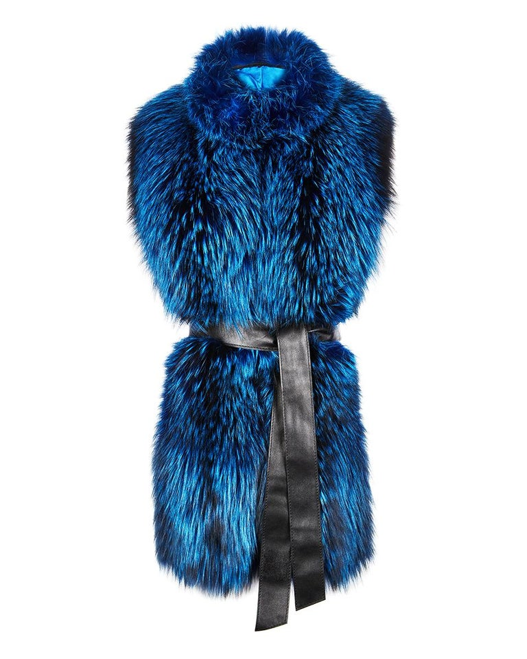 """Verheyen London Nehru Collar Stole in Lapis Blue Fox Fur & Silk Lining -Gift   The perfect Valentines gift which can be personally monogrammed on request with hand embroidery.   The Nehru Collar Stole is Verheyen London's wardrobe """"must have"""" for"""