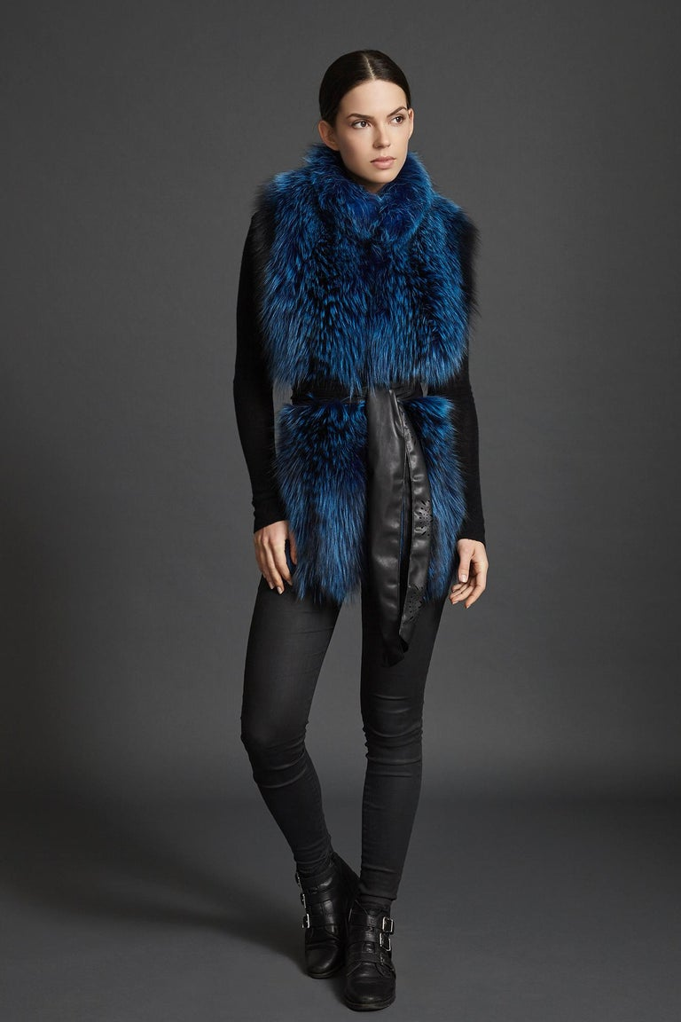 Verheyen London Nehru Collar Stole in Lapis Blue Fox Fur & Silk Lining -Gift  For Sale 1