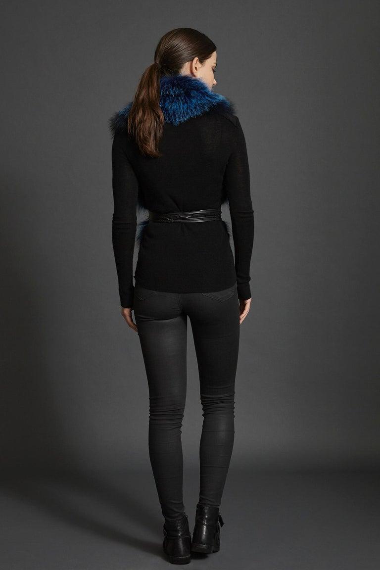 Verheyen London Nehru Collar Stole in Lapis Blue Fox Fur & Silk Lining -Gift  For Sale 4