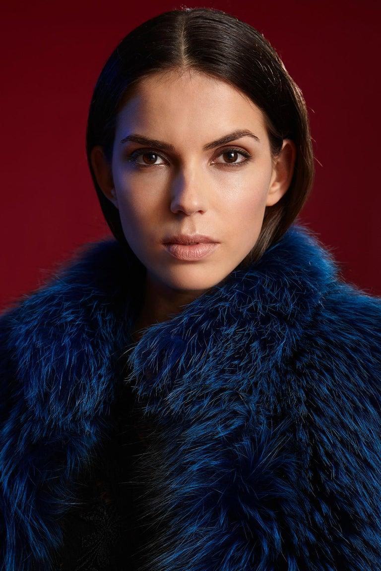 Verheyen London Nehru Collar Stole in Lapis Blue Fox Fur & Silk Lining -Gift  For Sale 5