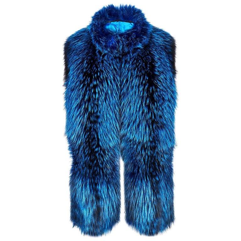 Verheyen London Nehru Collar Stole in Lapis Blue Fox Fur & Silk Lining -Gift  For Sale