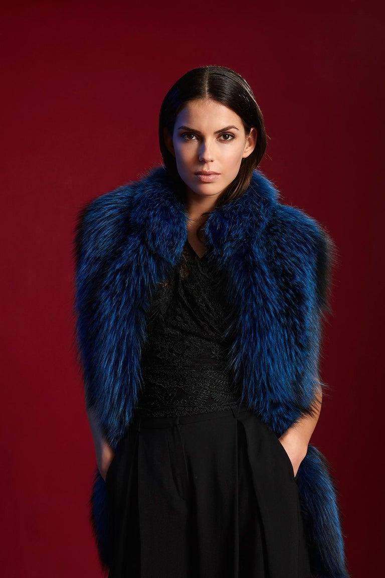 Verheyen London Nehru Collar Stole in Lapis Blue Fox Fur & Silk Lining - New  In New Condition In London, GB