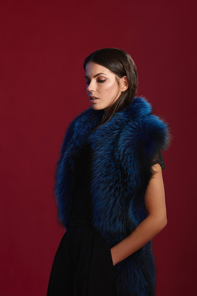 Women's or Men's Verheyen London Nehru Collar Stole in Lapis Blue Fox Fur & Silk Lining - New