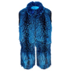 Verheyen London Nehru Collar Stole in Lapis Blue Fox Fur & Silk Lining -New