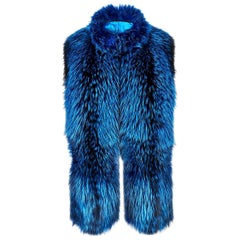 Verheyen London Nehru Collar Stole in Lapis Blue Fox Fur & Silk Lining - New
