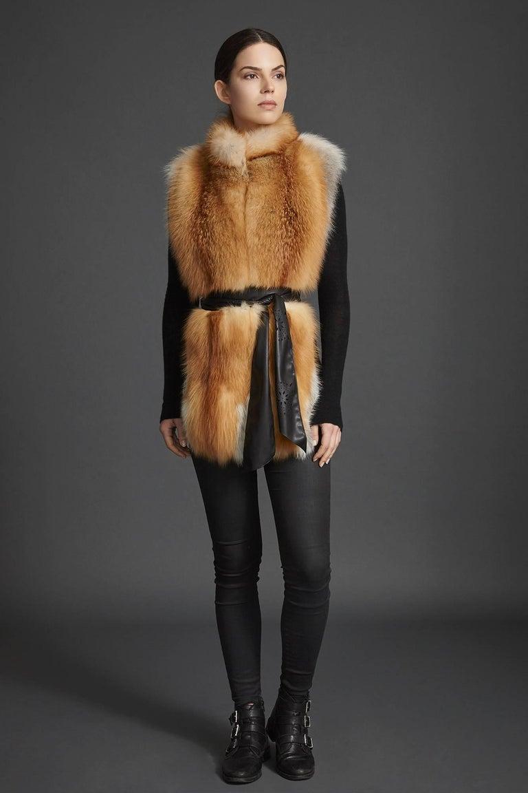 Orange Verheyen London Nehru Collar Stole in Natural Red Fox Fur - Brand New For Sale