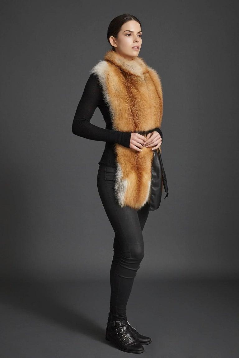 Verheyen London Nehru Collar Stole in Natural Red Fox Fur - Brand New In New Condition For Sale In London, GB