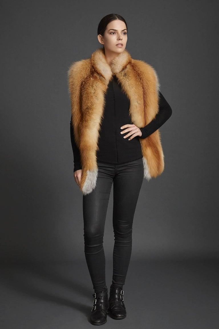 Women's or Men's Verheyen London Nehru Collar Stole in Natural Red Fox Fur - Brand New For Sale