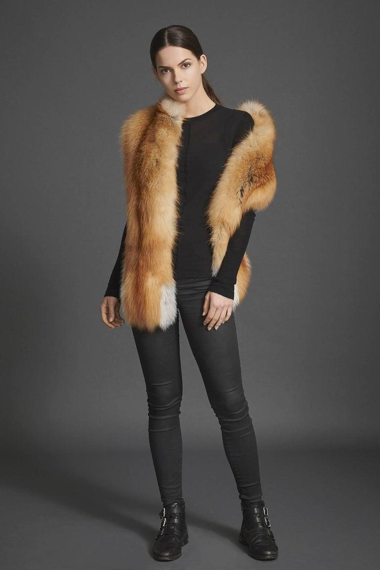 Verheyen London Nehru Collar Stole in Natural Red Fox Fur - Brand New For Sale 1