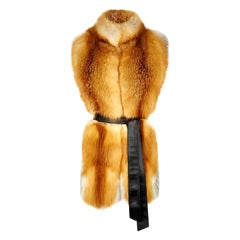 Verheyen London Nehru Collar Stole in Natural Red Fox Fur - Brand New