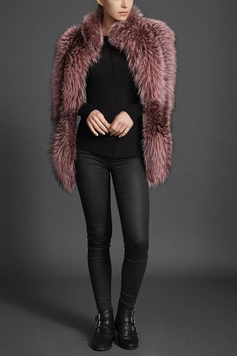 Verheyen London Nehru Collar Stole Rose Quartz Pink Fox Fur - Brand New In New Condition In London, GB