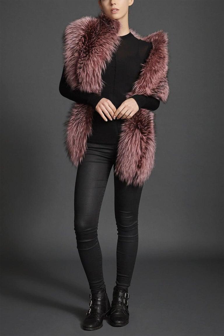 Women's or Men's Verheyen London Nehru Collar Stole Rose Quartz Pink Fox Fur - Brand New