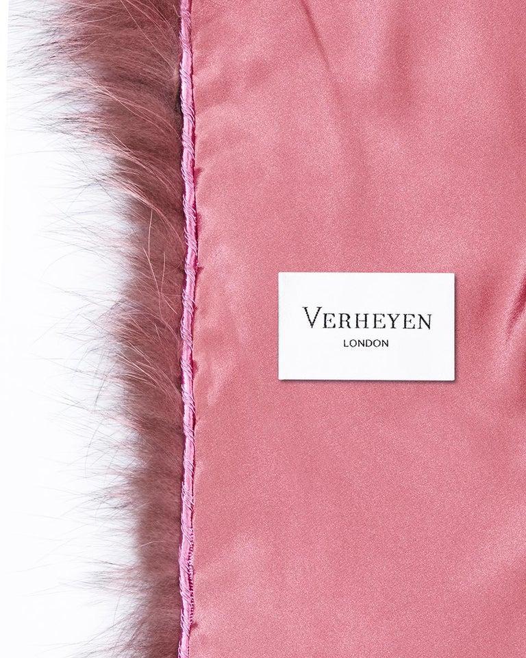 Verheyen London Nehru Collar Stole Rose Quartz Pink Fox Fur - Brand New 4