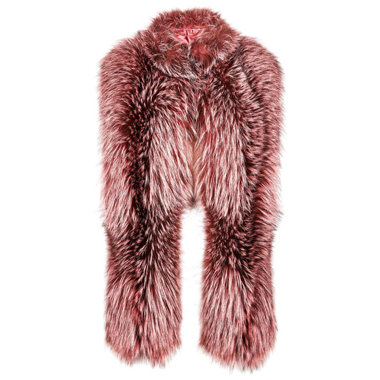 Verheyen London Nehru Collar Stole Rose Quartz Pink Fox Fur - Brand New