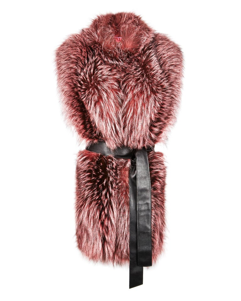 "Verheyen London Nehru Collar Stole Rose Quartz Pink Fox Fur & Silk Lining  The Nehru Collar Stole is Verheyen London's wardrobe ""must have"" for effortless style and glamour. Crafted in the finest dyed silver fox and lined in coloured silk satin,"