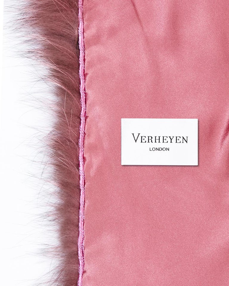Verheyen London Nehru Collar Stole Rose Quartz Pink Fox Fur & Silk Lining For Sale 3