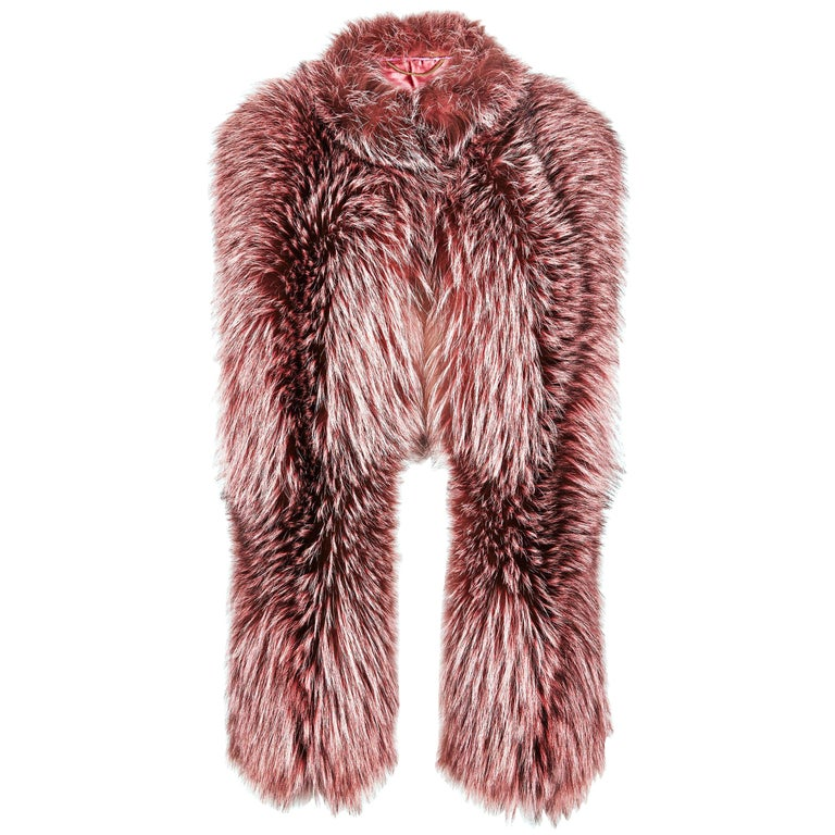 Verheyen London Nehru Collar Stole Rose Quartz Pink Fox Fur & Silk Lining For Sale