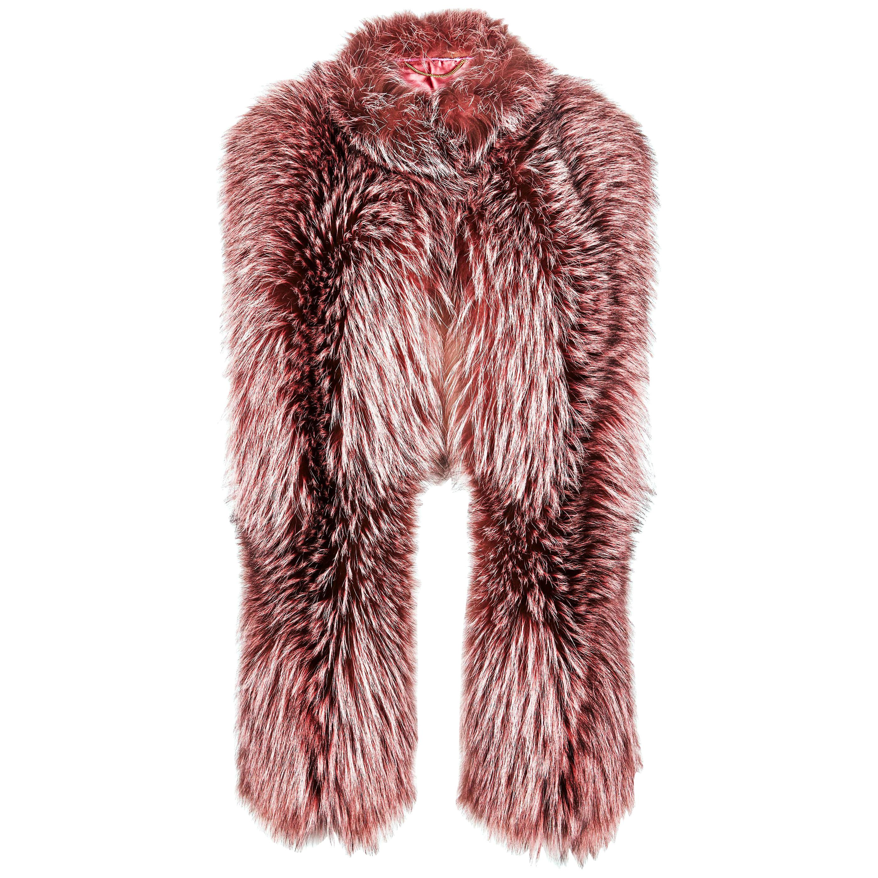 Verheyen London Nehru Collar Stole Rose Quartz Pink Fox Fur & Silk Lining