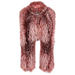 Verheyen London Nehru Collar Stole Rose Quartz Pink Fox Fur & Silk Lining - New