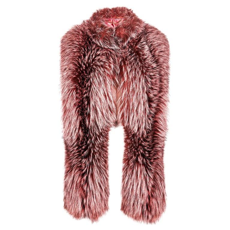 Verheyen London Nehru Collar Stole Rose Quartz Pink Fox Fur -  Valentines Gift  For Sale