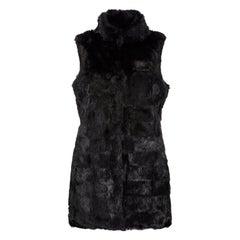 Verheyen London Nehru Gilet in Rabbit Fur in Black - Size Uk 10-12