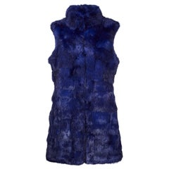 Verheyen London Nehru Gilet in Rabbit Fur in Navy Sapphire - Size Uk 8-10