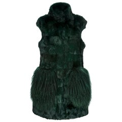Verheyen London Nehru Gilet in Rabbit Fur & Lamb in Forest Green Size uk 8 - new