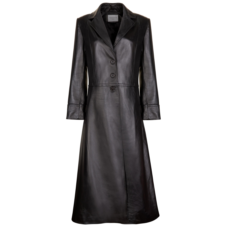 Verheyen London Oversize 70's Leather Trench Coat in Black - Size uk 10