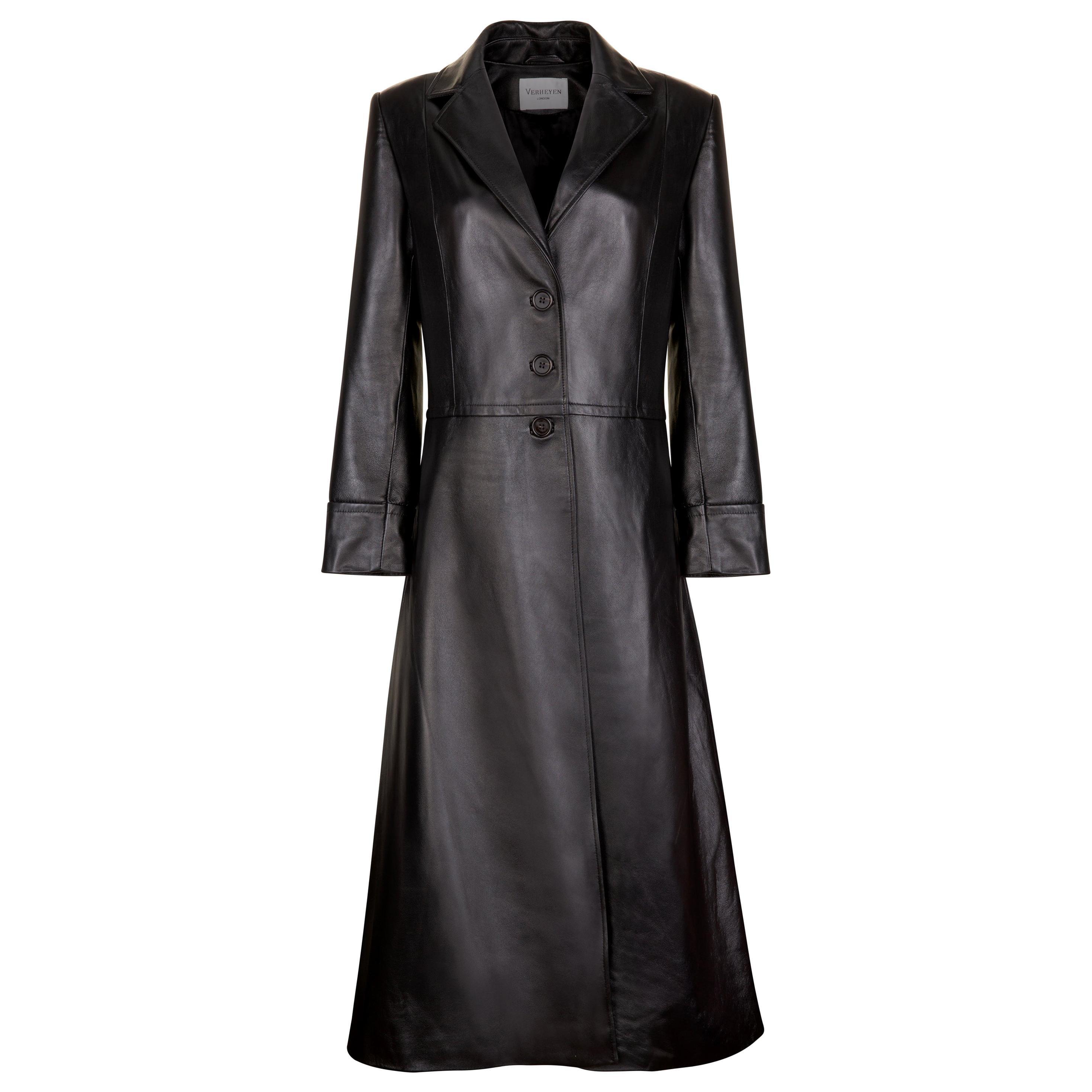 Verheyen London Oversize 70's Leather Trench Coat in Black - Size uk 12
