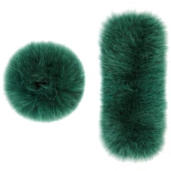 Verheyen London Pair of Large Snap on Jade Fox Fur Cuffs