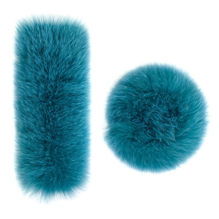 Turquoise Fox Fur Cuffs: Verheyen London Pair Of Snap On Fox Fur Cuffs In Turquoise