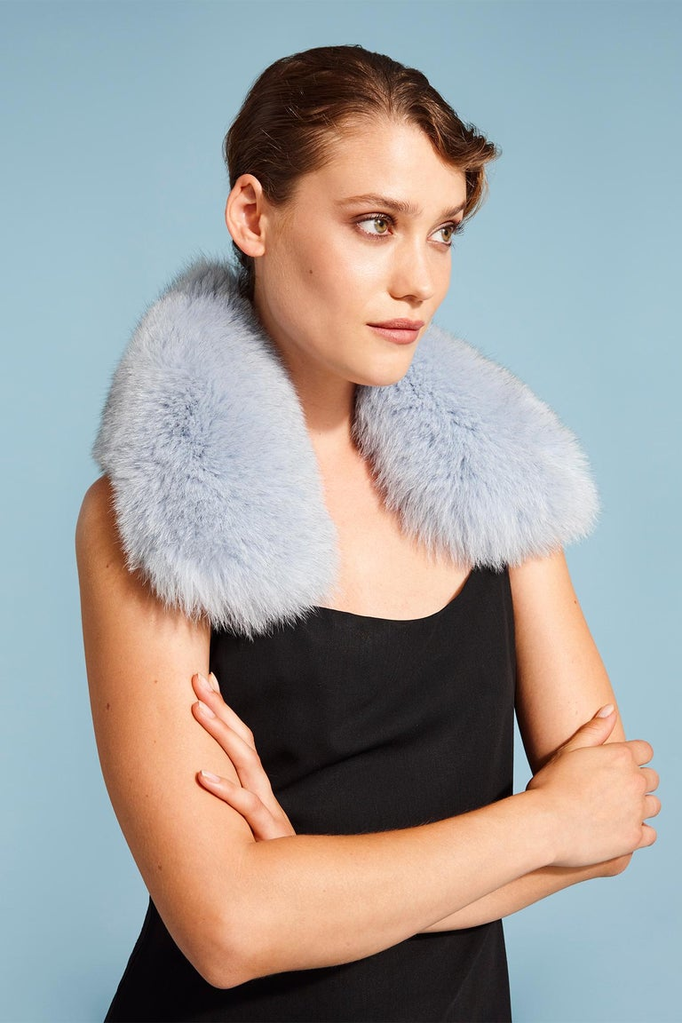 Verheyen London Peter Pan Collar in Iced Blue Fox Fur & lined in silk   The perfect Christmas gift which can be personally monogrammed on request.  The Peter Pan collar is Verheyen London's classic staple for effortless style for casual wear.  To