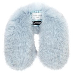 Verheyen London Peter Pan Collar in Iced Blue Fox Fur & lined in silk