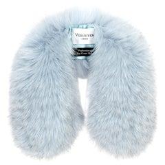 Verheyen London Peter Pan Collar in Iced Blue Fox Fur & lined in silk - New