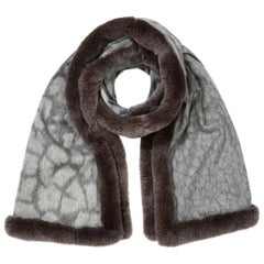 Verheyen London Rex Rabbit Fur Cashmere Shawl Scarf in Grey Leopard - Gift