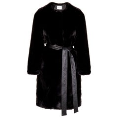 Verheyen London Serena  Collarless Faux Fur Coat in Black - Size uk 10
