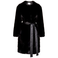 Verheyen London Serena  Collarless Faux Fur Coat in Black - Size uk 12
