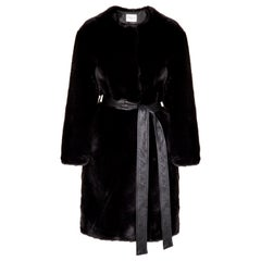 Verheyen London Serena  Collarless Faux Fur Coat in Black - Size uk 8
